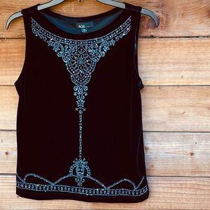 AGB black velvet jeweled sleeveless blouse